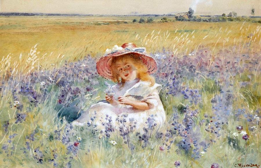Молодая девушка в поле сальвии, оксейские ромашки и луговой лисичек