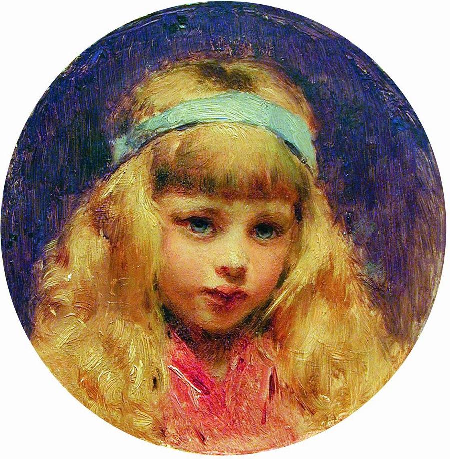 Портрет девочки с голубой лентой в волосах. 1890-е.