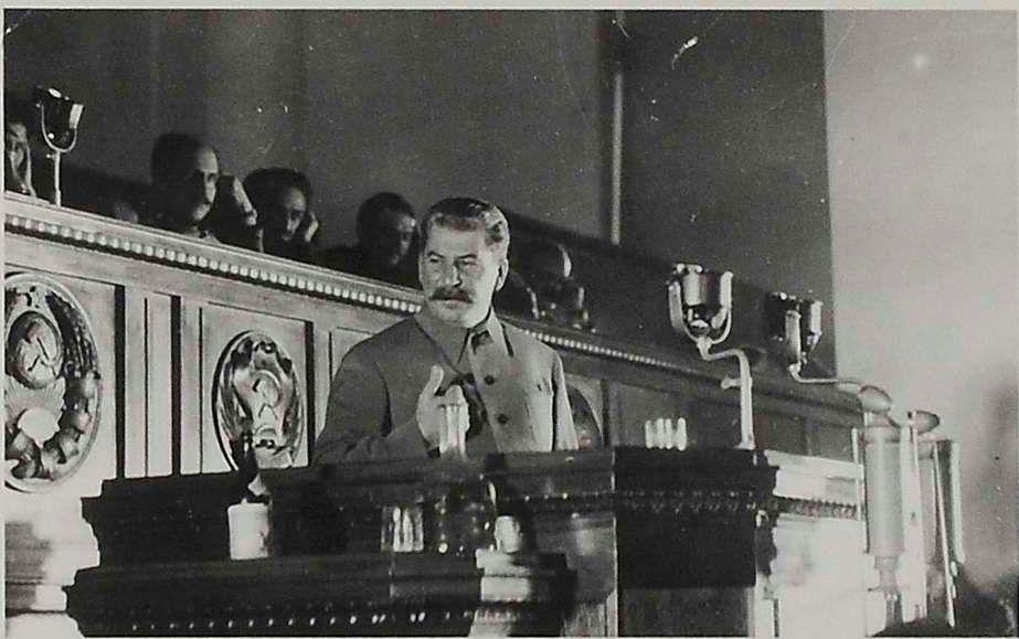 1934. Фото Генерального секретаря ЦК ВКП(б) И.В. Сталина, делающего отчетный доклад на XVII съезде ВКП(б). 26 января