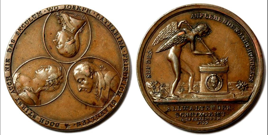 Настольная медаль «На встречу нового столетия. 1799 г.»