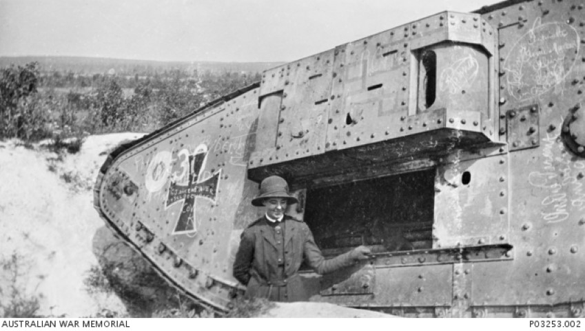 A British Mk IV Female tank%2C that had been captured by the Germans and then%2C as seen here%2C recaptured %28Small%29.jpg