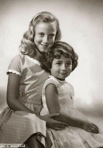 Prinsessen Marie-Christine en Esmeralda van België. 1961