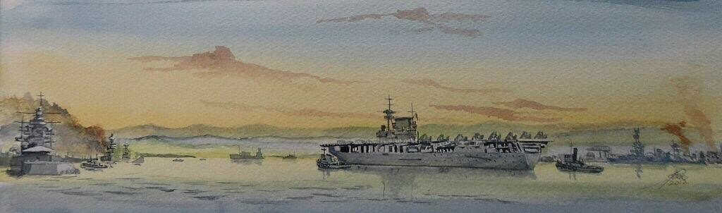 Dusk 8th Dec 1941 USS Enterprise CV-6 enters Pearl, to re fuel and store, she sailed on the 9th.