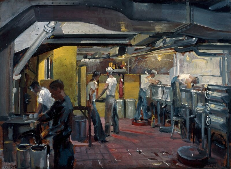 William F. Draper - Transport Galley (1943) On board the USS St. Mihiel the galley of a transport ship where the chief cook and his mates feed the masses.