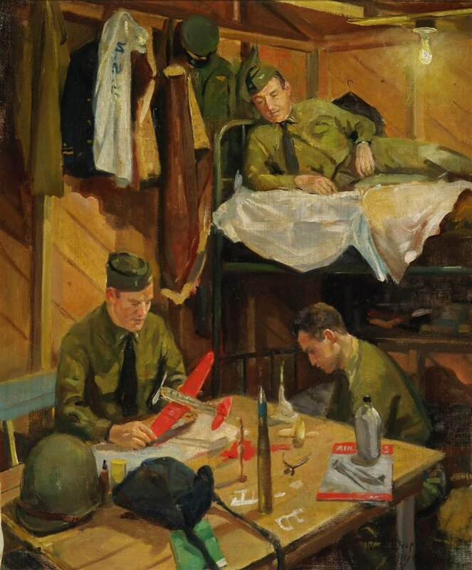 William F. Draper - Pilots At Play - Umnak, Alaska (1942) In a crowded Yukatat hut, Ltjg. Dillon to the left, Lt. Brooks above, and Ltjg. Sullivan relax after an arduous day's flight.