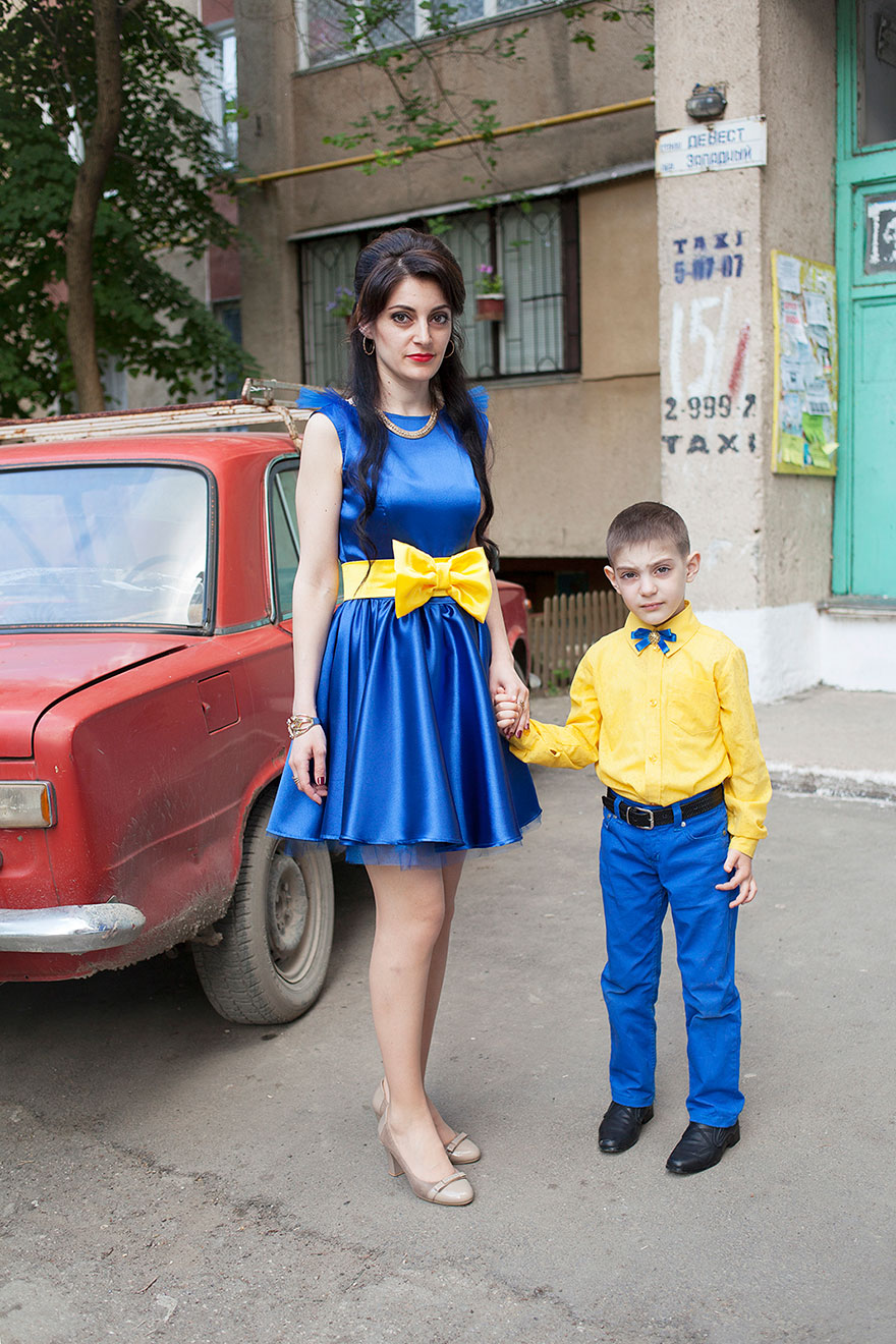 Ukrainian woman and her son