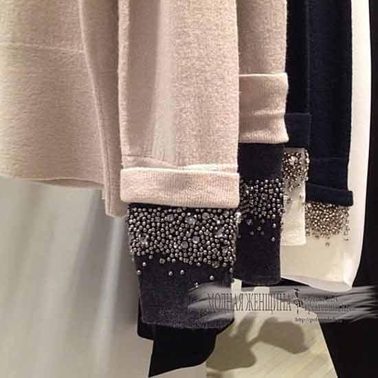 удлиняем рукава пришивной манжетой с бусинами, переделка одежды