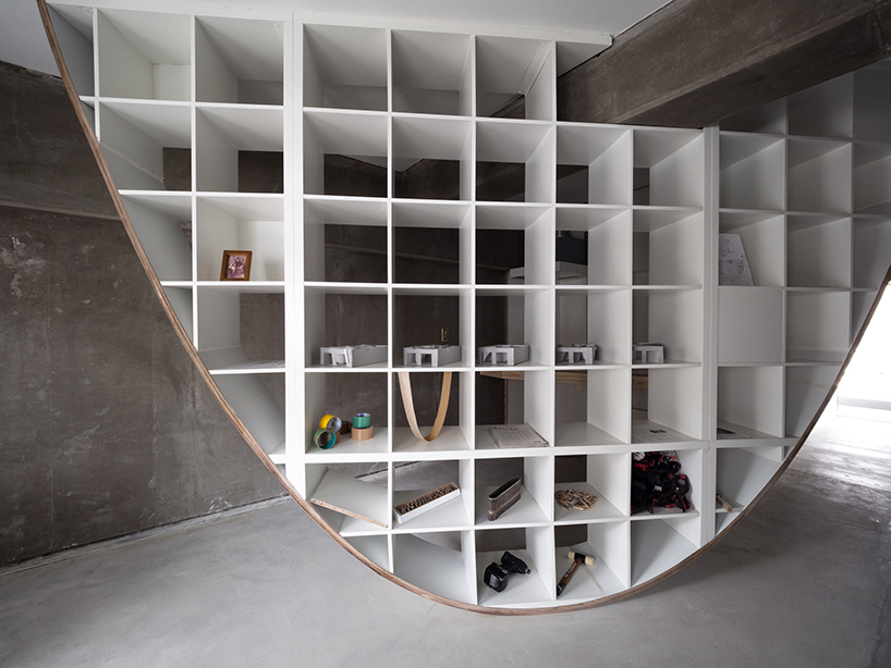 Beautiful Reverse Parabola Bookcase