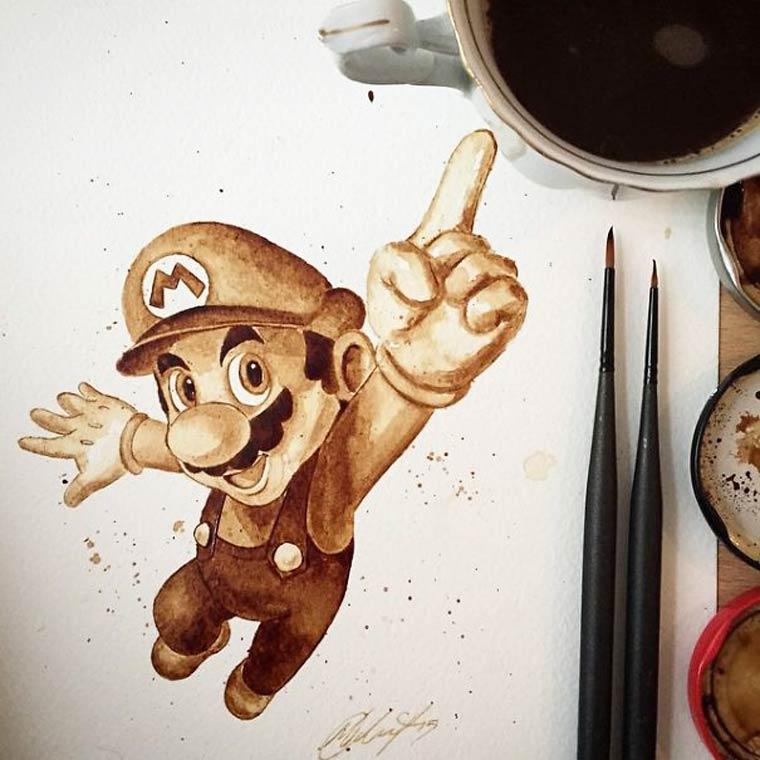 De superbes aquarelles peintes avec du cafe