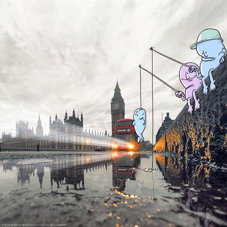 Photo Invasion - Un illustrateur envahit les photos Instagram des autres utilisateurs