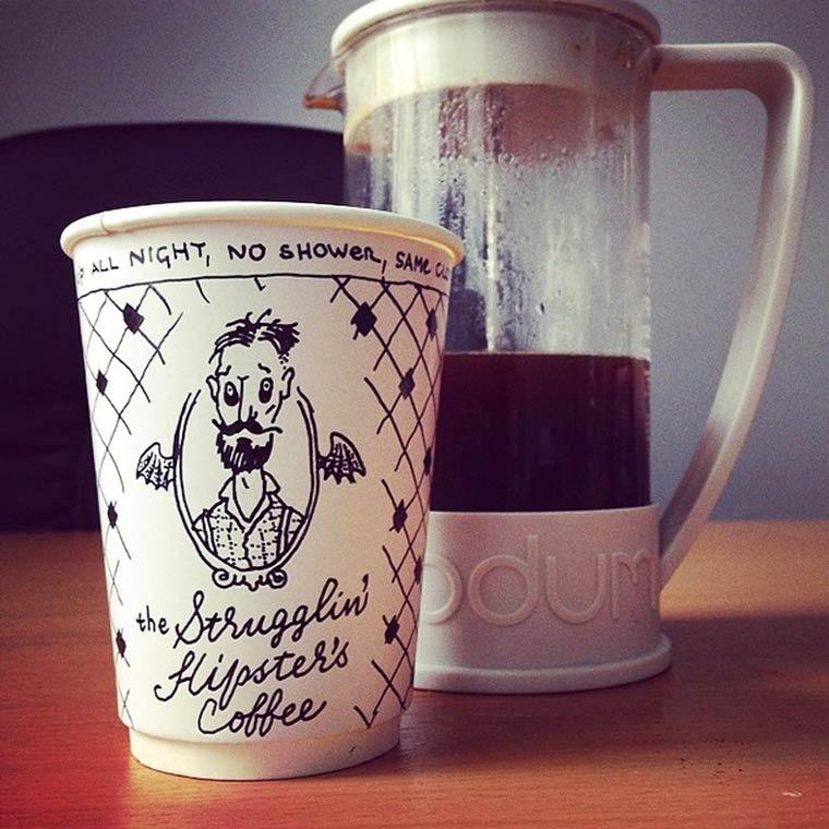 Coffee Time - Des marques fictives illustrees sur des gobelets jetables