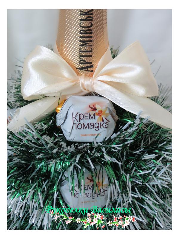 свит-дизайн, оформление бутылок, новогоднее шампанское, елочка, ручная работа, подарки, праздник, новый год, рукоделки василисы