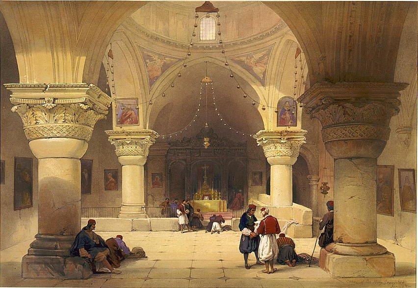 585035 Церковь св. Елены Храма Гроба Господня в Иерусалиме Louis Haghe 1852 Литография.jpg