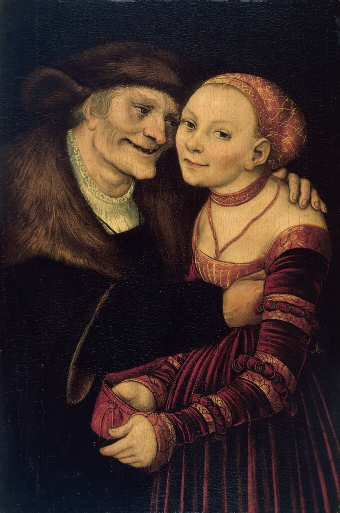 Куртизанка и старик - Старый дурак (Courtesan and old man - The old fool)_1517_27.3 х 18_д.,м._Барселона, Национальный музей Каталонии.jpg