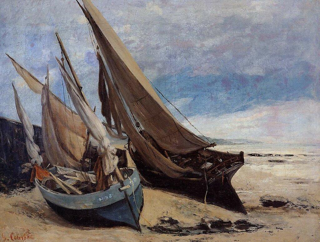 Гюстав Курбе: Рыбацкие лодки на берегу в Довиле