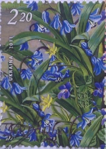 2011 N1145-1150 (b94) блок Щедрая Украина Весна голуб цветы 2.20