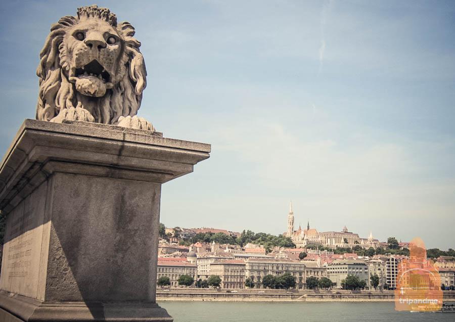Мост украшают львы