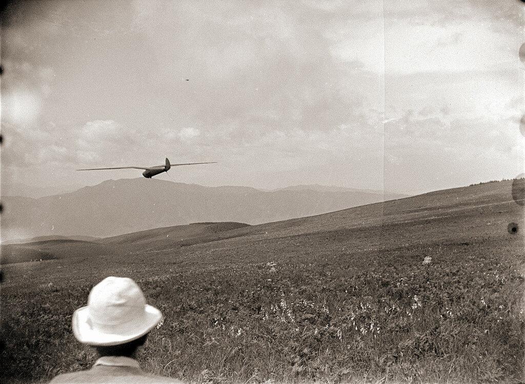 Man in Hat Watching Glider, 1930s Japan