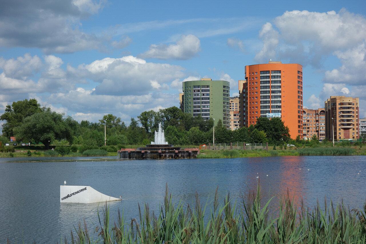 пруд и фонтан