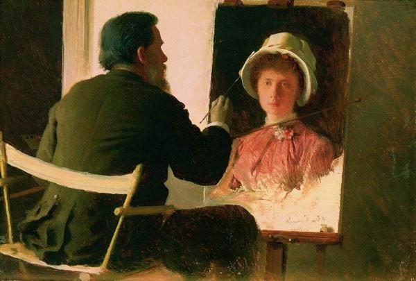 Крамской, пишущий портрет своей дочери, Софьи Ивановны Крамской, в замужестве Юнкер..jpg