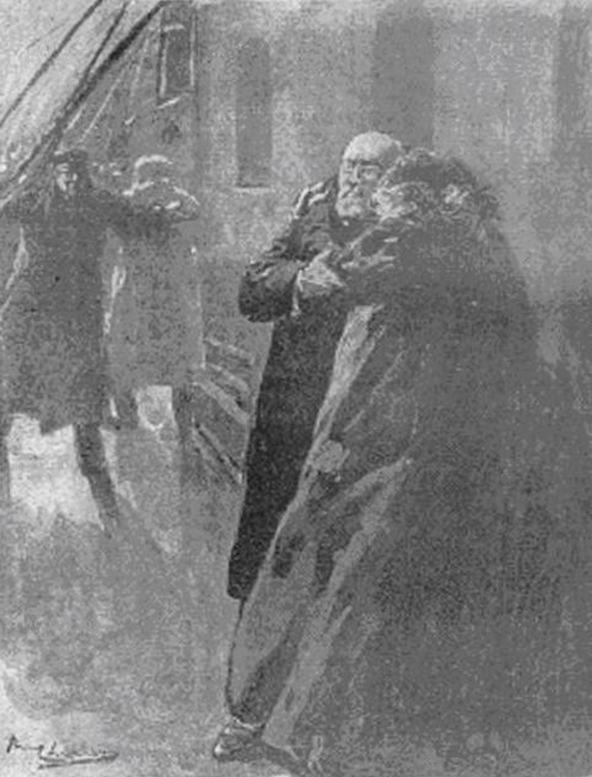 Рисунок Пола Тириата, опубликованный в французской газете 20 апреля 1912, изображает последние минут