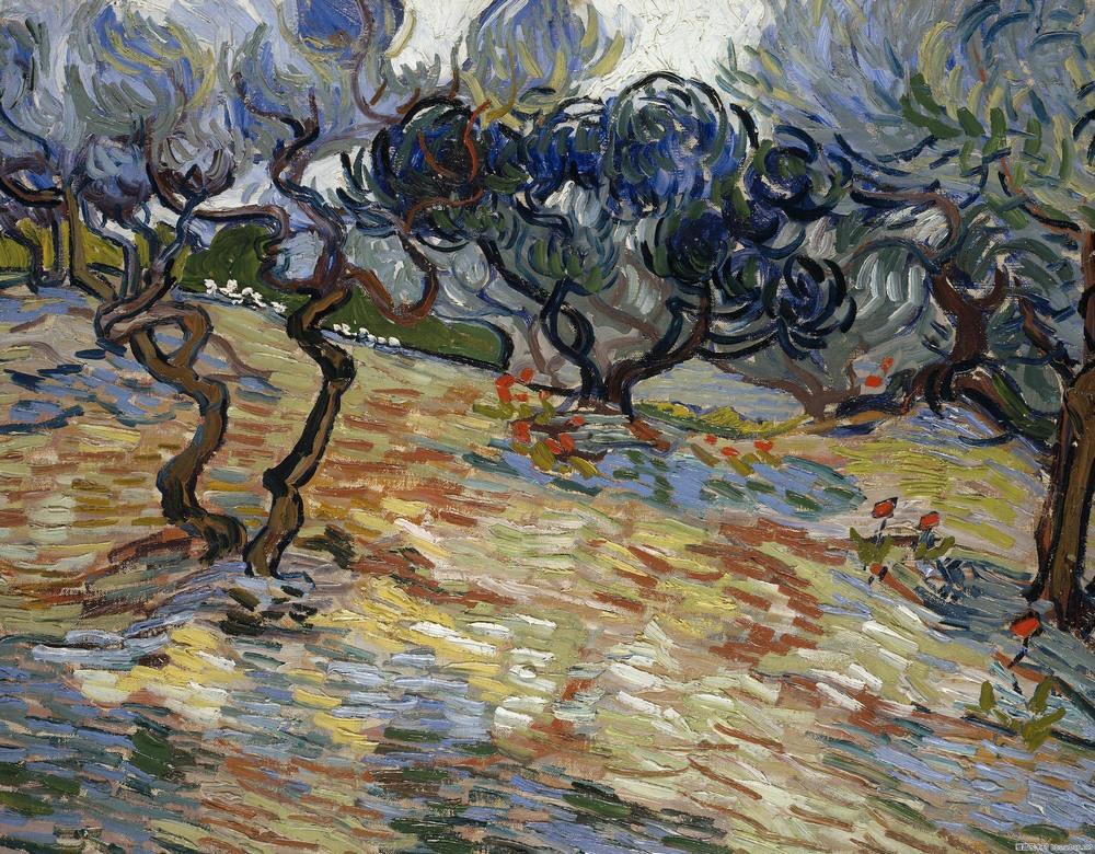 Увеличенный фрагмент картины «Оливковые деревья: ярко-голубое небо», Винсент Ван Гог, 1889