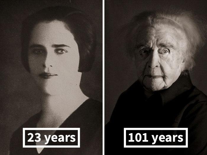 Лудмила Выслужилова, 23 года (фото — подарок жениху) и 101 год.