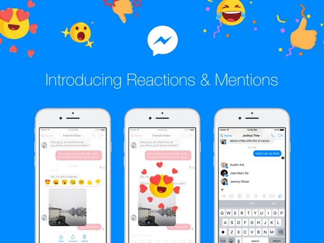 Вприложение социальная сеть Facebook Messenger добавлены «реакции»