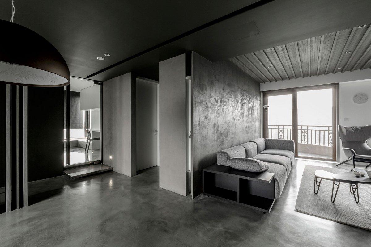 серый интерьер квартиры