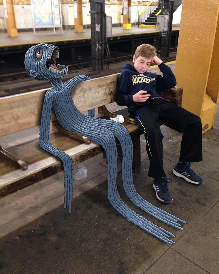 Subway Doodle - Il dessine des monstres etranges dans le metro de New York