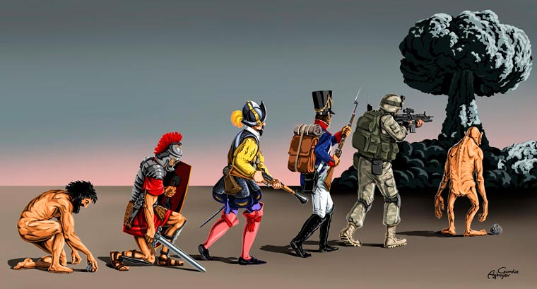 War and Peace - A new series of dark and satirical illustrations by Gunduz Agayev