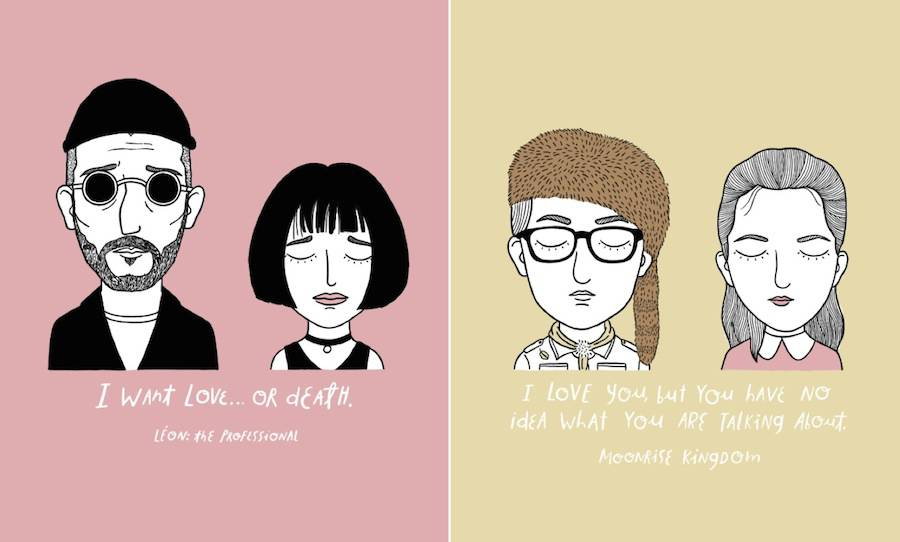 Touching Illustrations of Sad Movie Couples