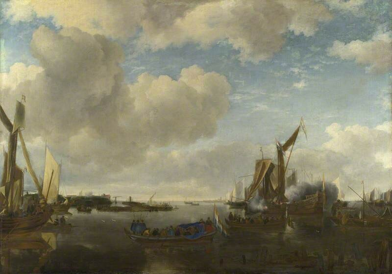 A River Scene with a Dutch Yacht firing a Salute as Two Barges pull away