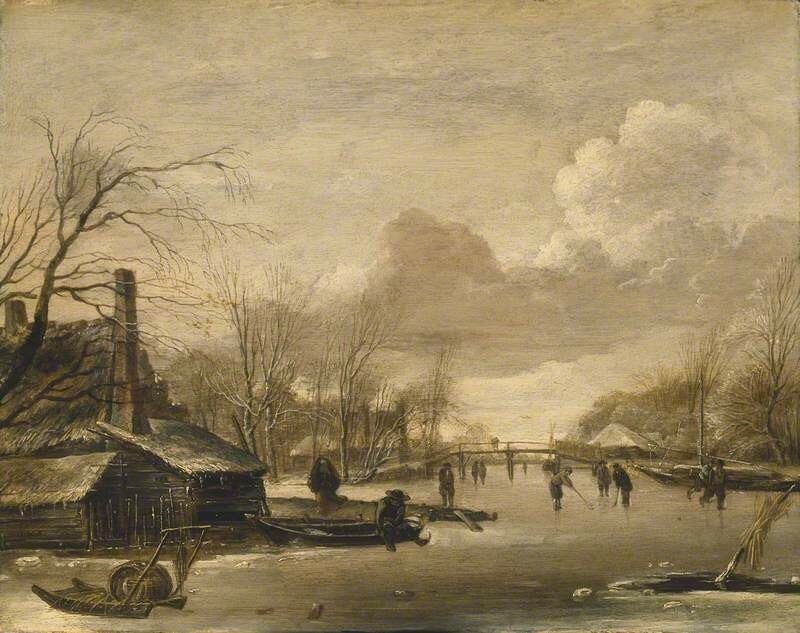 Winter Scene with Thatched Cottages and a Frozen River Spanned by a Wooden Bridge
