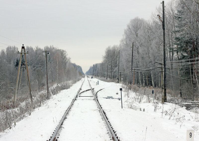 Стрелка на станции Рождествено, вид на Вязьму