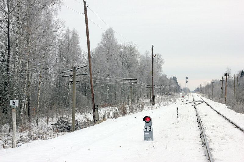 Прожекторный выходной светофор Ч3 станции Рождествено и столб 150-151 км, вид на Ржев