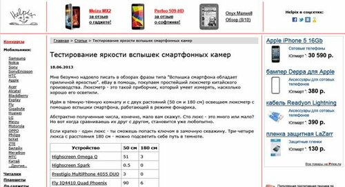 Страничка Helpix.ru в браузере