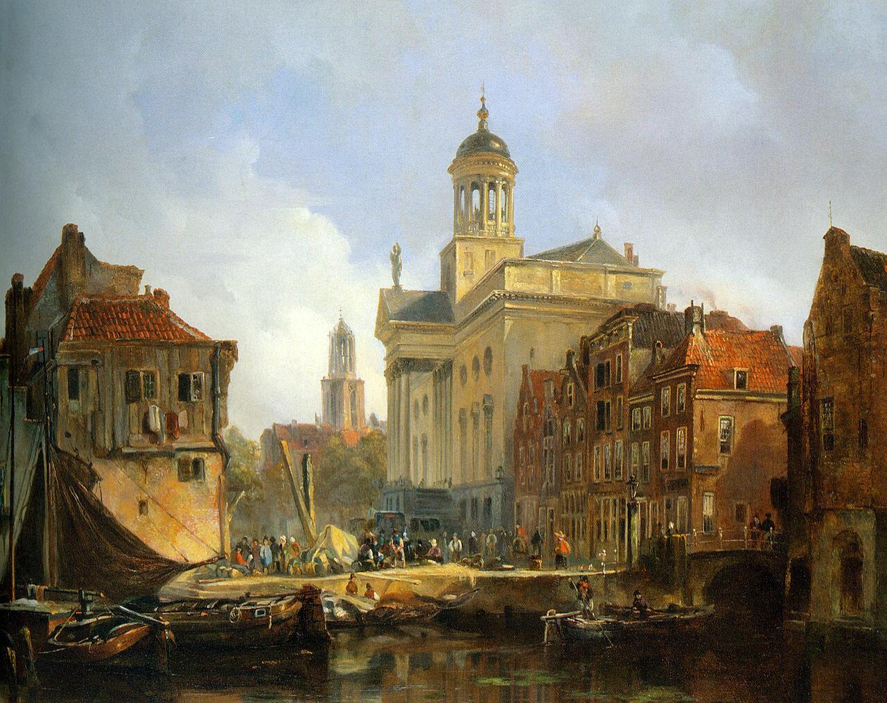 Вид Уртрехта, 19-ый век,Иоханнес Босбум(1817-1891), масло на панели, Голландия