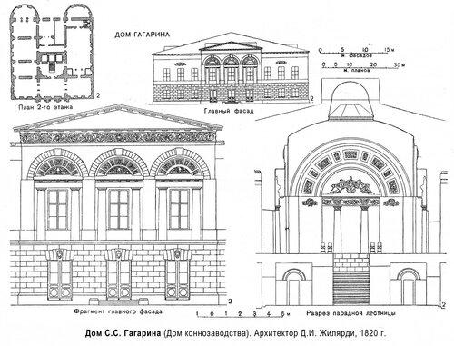 Дом С.С. Гагарина (Дом коннозаводства), чертежи