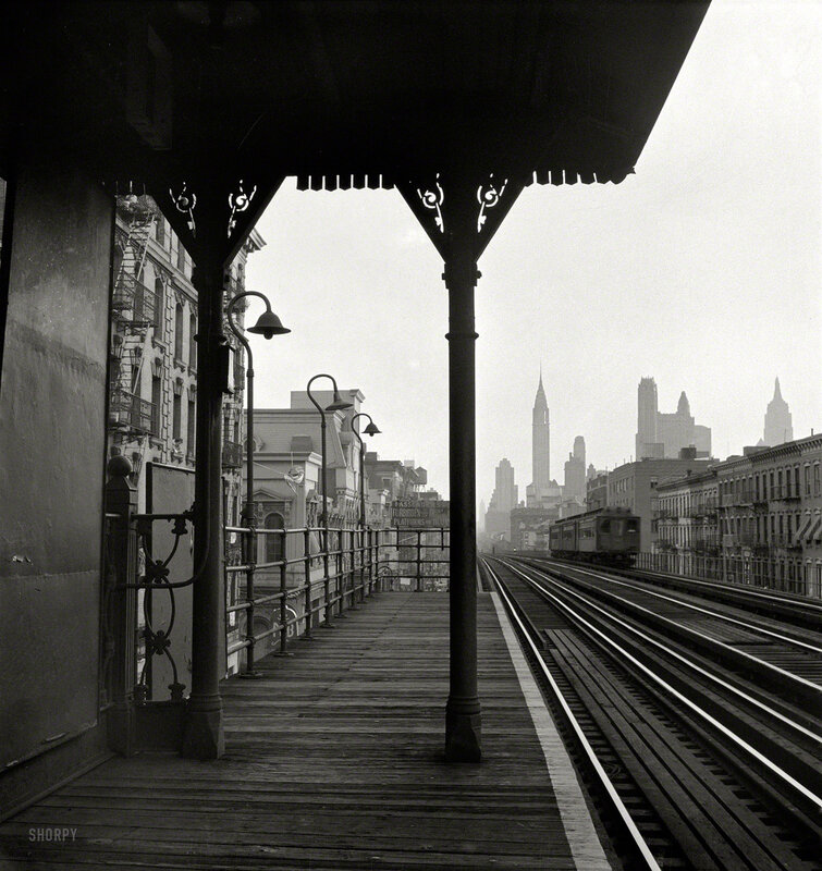 September 1942. New York. Looking downtown from the Third Avenue elevated railway in the 'Fifties'