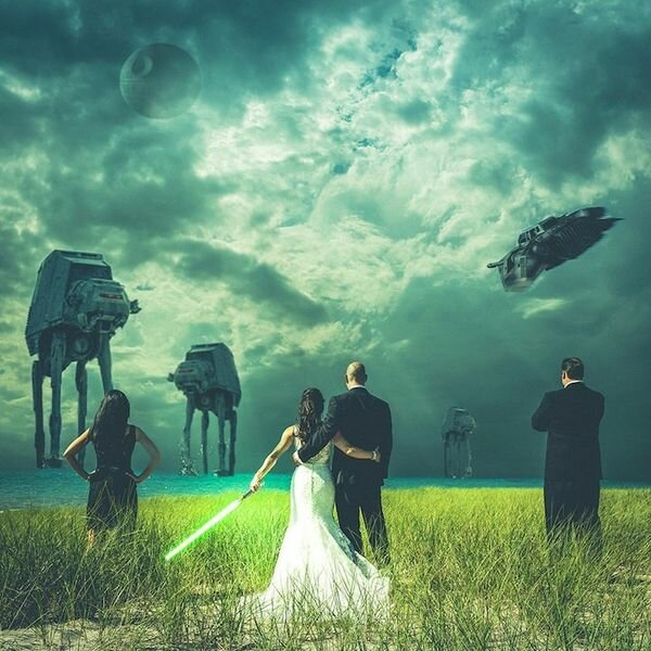 Монстры на свадебных фотографиях