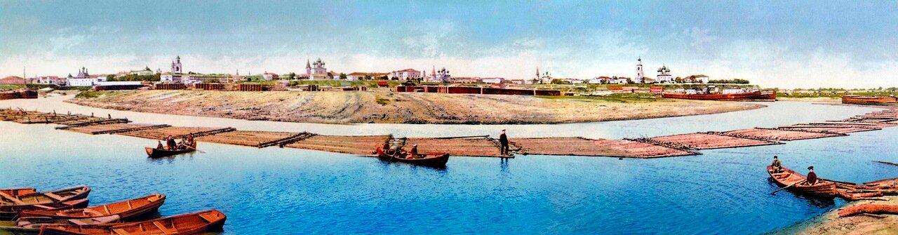 Панорама набережной реки Которосль от Стрелки до Американского моста