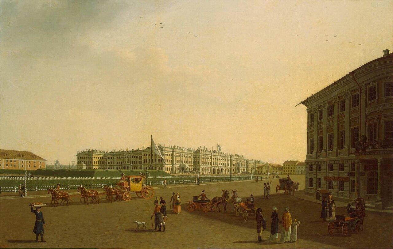 Вид Дворцовой площади и Зимнего дворца от начала Невского проспекта