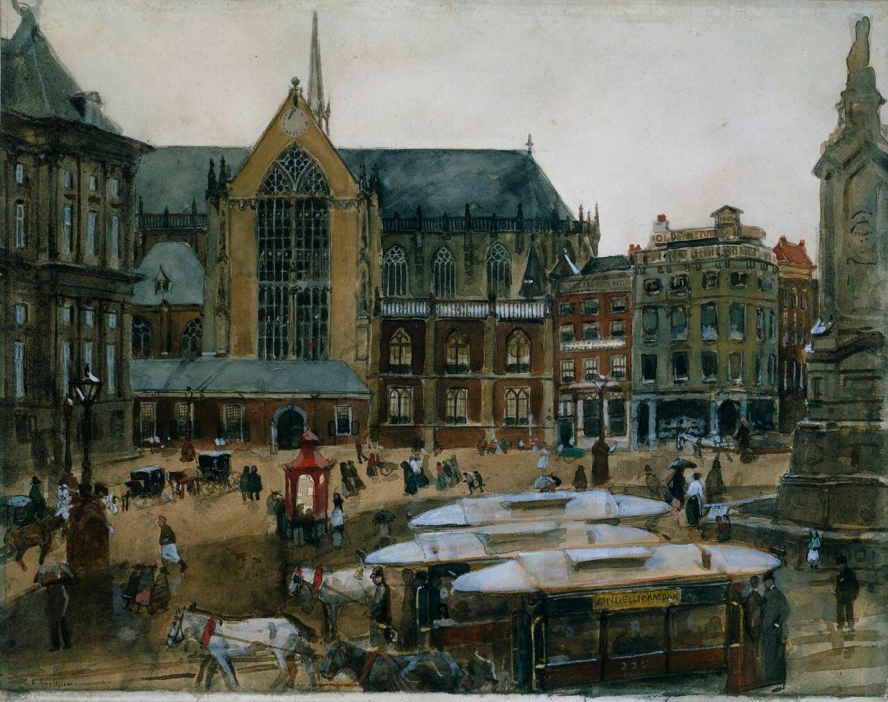 Площадь Дам(название по-голландски) Амстердаме (1895-98)_ Георг Хендрик Брейтнер (1857–1923);