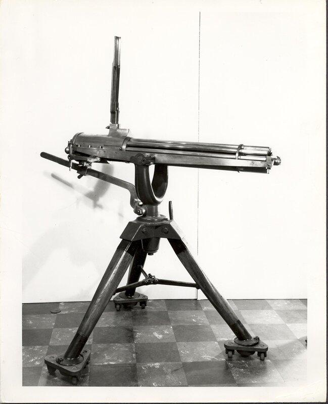 An experimental 1877 Gatling Gun on a tripod