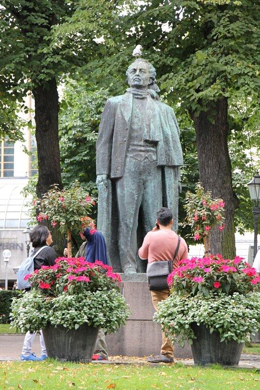 Helsinki. Esplanade. The statue of Eino Leino