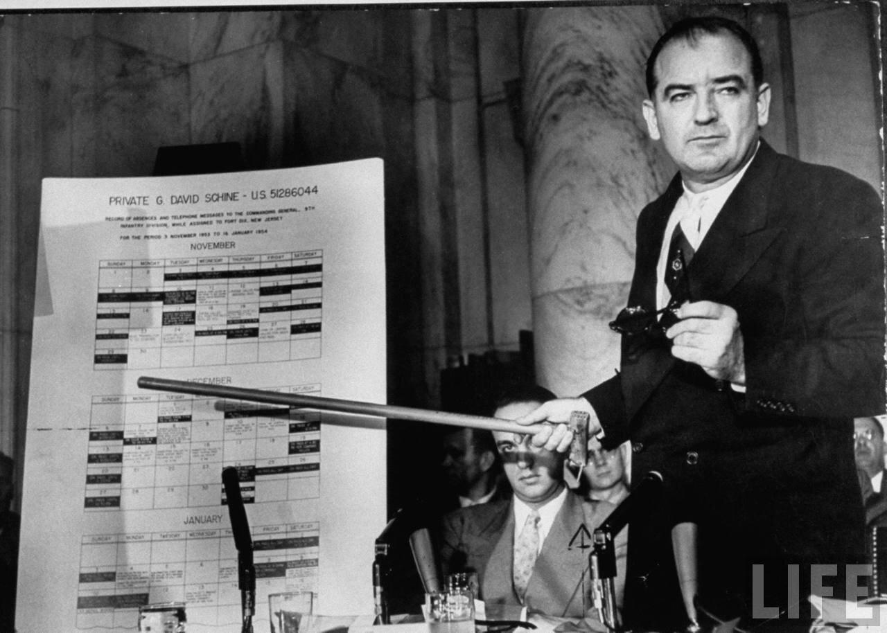 1954. май. Сенатор Джозеф Р. Маккарти на слушаниях подкомитета показывает схему проникновении коммунистов в армию