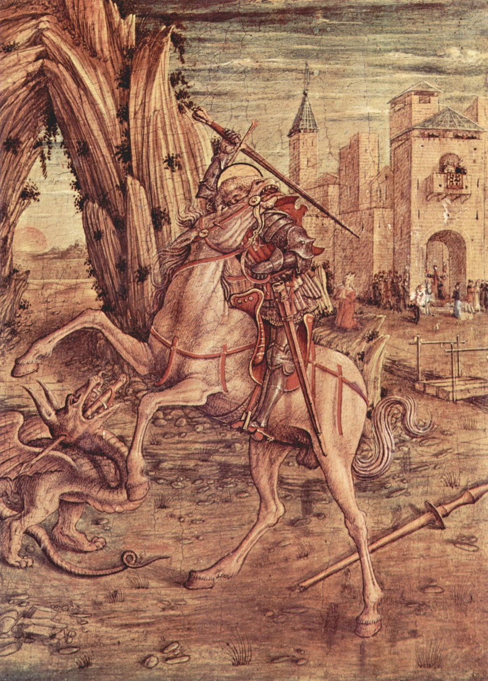 1450 Карло Кривелли (ок. 1430-1495) Алтарь семьи Одони, правая створка в основании алтаря_ св. Георгий и дракон.jpg