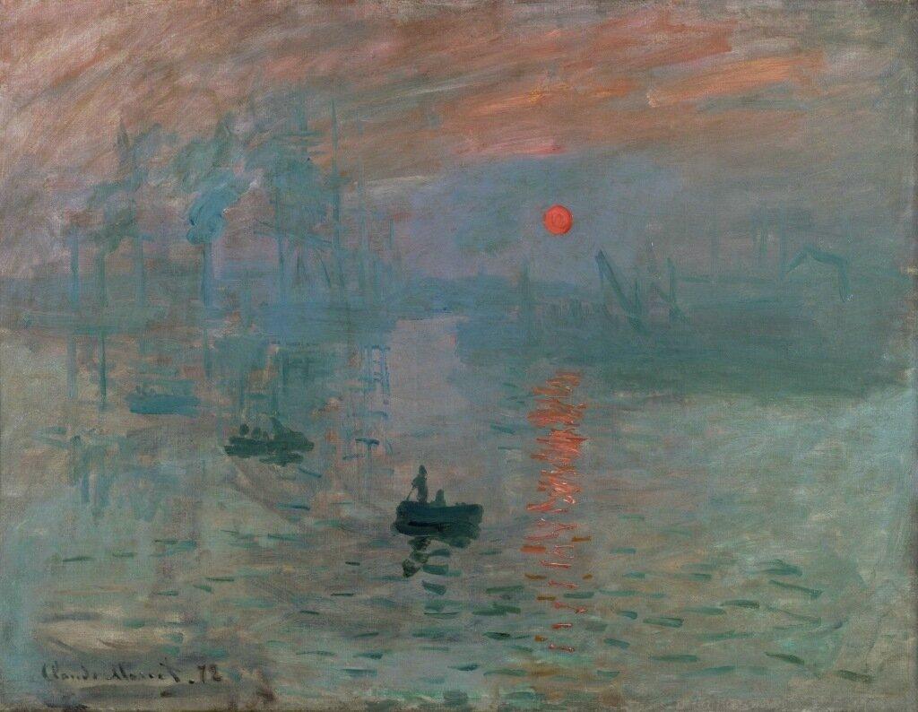 Обои Закат на Сене, Клод Моне, парус, лодка, Пейзаж, картина. Разное foto 16