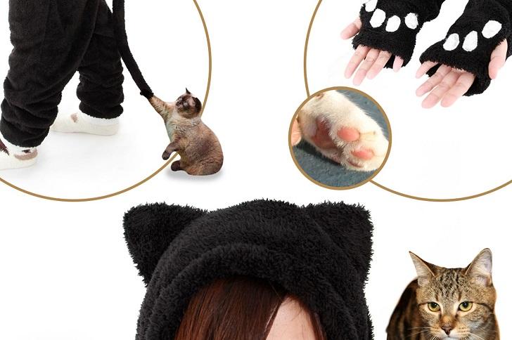 Рукава-лапки, кошачьи уши и хвост костюма